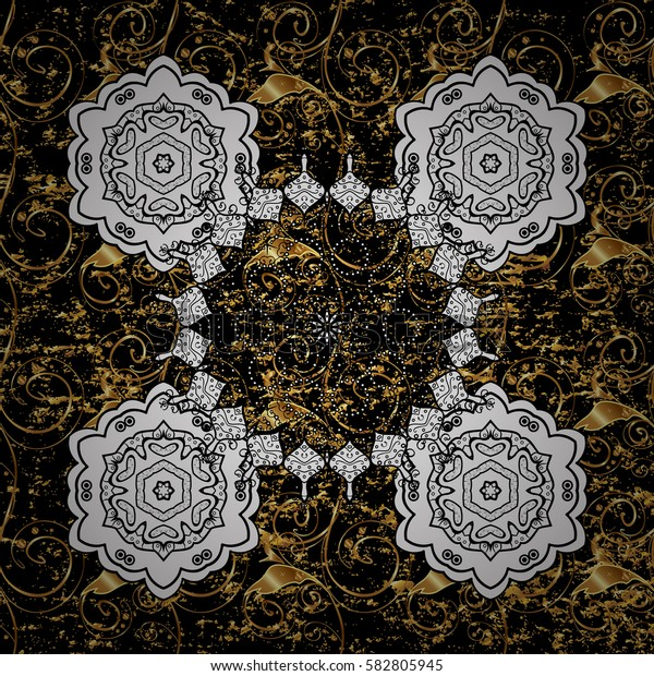 Background. Wallpaper baroque, damask. Stylish graphic pattern. Golden elements on black background. Floral pattern.
