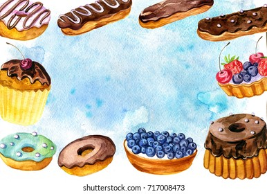background with watercolor cakes with fresh berries, fruit tarts, cupcake and chocolate pie, hand drawn illustration, sweet food template for gift card or cover design
