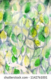 Background with watercolor leaves