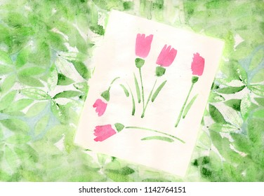 Background with watercolor leaves and tulips flowers