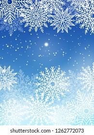 Background with white snowflakes isolated on blue backdrop. raster illustration with winter symbols glittering elements with place for text