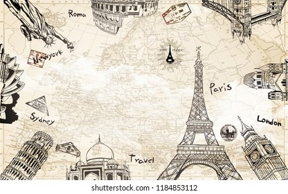 Background with a world map, outlines of world sights and names of some cities