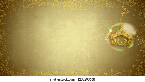 Background for writing Christmas cards, Nativity Scene freehand in gold metallic texture inside xmas ball on blank background with space for message or photo, panoramic format.