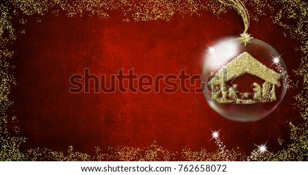 Background writing christmas cards nativity scene stock illustration background for writing christmas cards nativity scene freehand in gold metallic texture inside xmal ball m4hsunfo