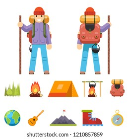 Backpaker Character Mountain Travel Trip Vacation Man Wood Summer Spring Flat Design Isolated Icon Set  Illustration