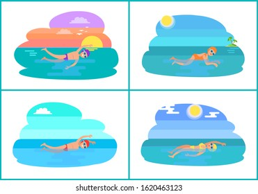 Backstroke and breaststroke, butterfly and freestyle swimming methods. Professionals in water practicing strokes. Sportive males and females raster