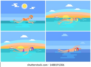Backstroke and butterfly set raster. Professional swimmers performing freestyle and breaststroke swimming styles. Water expert sport sea activities