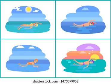 Backstroke and butterfly style isolated raster set. Water sport training in sea, professional exerts exercising. People wearing goggles and swimsuits