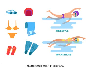 Backstroke and freestyle set isolated icons raster. Man and woman showing swimming styles goggles and hat, flippers and flip flops, towel and swimsuit
