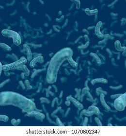 Bacteria Infection, Bacteria floating in fluid environment, 3D rendering