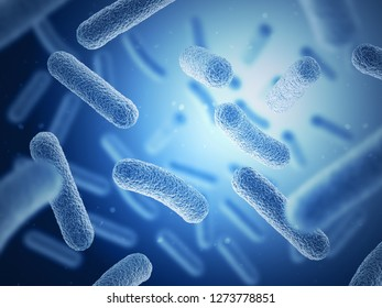Bacteria on blue background. 3d illustration. Multiple objects.