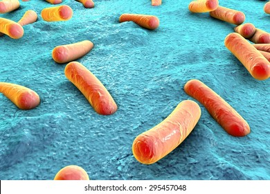 Bacteria on surface of skin, mucous membrane or intestine, model of Escherichia coli, Salmonella, Klebsiella, Legionella, Mycobacterium tuberculosis, model of microbes, simulating electron microscope