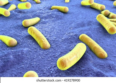 Bacteria on surface of skin, mucous membrane or intestine, model of Escherichia coli, Salmonella, Klebsiella, Legionella, Mycobacterium tuberculosis, simulating electron microscope, 3D illustration