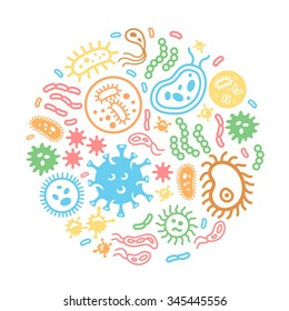 Bacteria and virus on a circular background, biology, science microbiology, microbe infection illustration colored