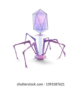 Bacteriophage on a white background. 3D illustration