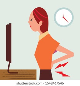 Bad back office worker in pain from repetitive strain injury using computer