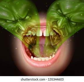 Bad breath as garlic smell from inside a human mouth as a health concept of an offensive foul odour caused by smoking or eating with a green gas shaped as evil faces over an open human mouth.