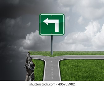 Bad business advice concept as a path with a 3D illustration fork in the road falsely guiding off a cliff as a metaphor for incompetent fraudulent financial consultation or mismanagement direction.