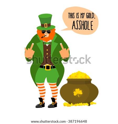 Bad Leprechaun Shows Fuck Bully Red Stock Illustration 387196648