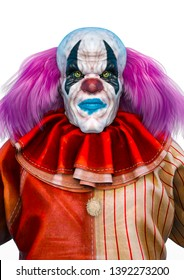 bad and ugly clown in a horror portrait. This clown in is very useful for halloween graphic design creations, 3d illustration