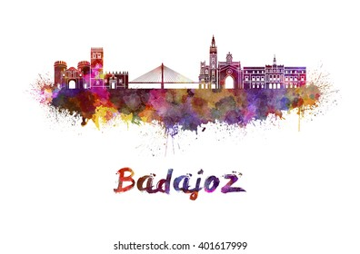 Badajoz skyline in watercolor splatters with clipping path