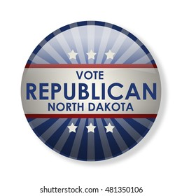 Badge election campaign 2016 - Vote Republican North Dakota! The presidential elections in 2016. The image can be used for decoration buttons, badges, posters, banners, and more. (3d-illustration)