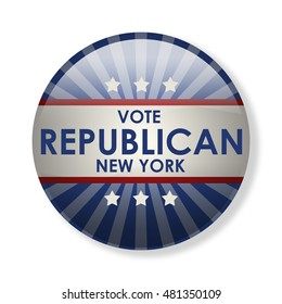 Badge election campaign 2016 - Vote Republican New York! The presidential elections in 2016. The image can be used for decoration buttons, badges, posters, banners, and more. (3d-illustration)