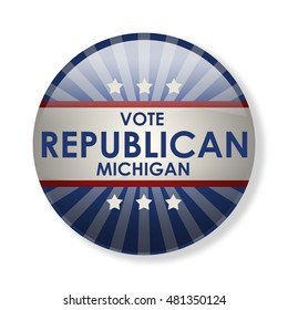 Badge election campaign 2016 - Vote Republican Michigan! The presidential elections in 2016. The image can be used for decoration buttons, badges, posters, banners, and more. (3d-illustration)