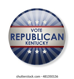 Badge election campaign 2016 - Vote Republican Kentucky! The presidential elections in 2016. The image can be used for decoration buttons, badges, posters, banners, and more. (3d-illustration)