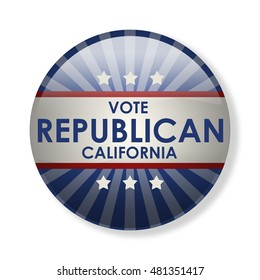 Badge election campaign 2016 - Vote Republican California! The presidential elections in 2016. The image can be used for decoration buttons, badges, posters, banners, and more. (3d-illustration)
