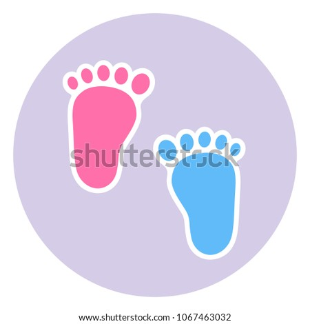 badge footprint child baby footprints twin stock illustration