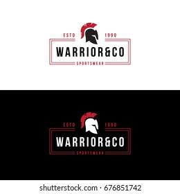 badge with helmet. Sportswear logo.  warrior head label