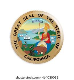 Badge US State Seal California, 3d illustration