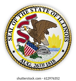 Badge US State Seal Illinois, 3d illustration