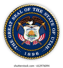 Badge US State Seal Utah, 3d illustration