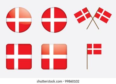 badges with Danish flag illustration