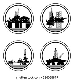 Badges with drilling rigs and oil platforms. Illustration on white background.