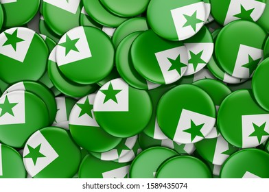Badges with flag of Esperanto, 3D rendering