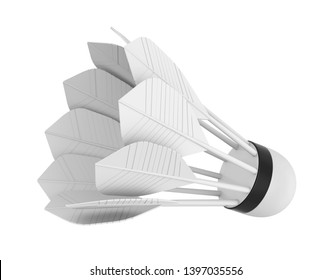Badminton Feather Shuttlecock Isolated. 3D rendering