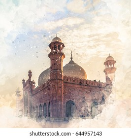 Badshahi Mosque Watercolor Sketch