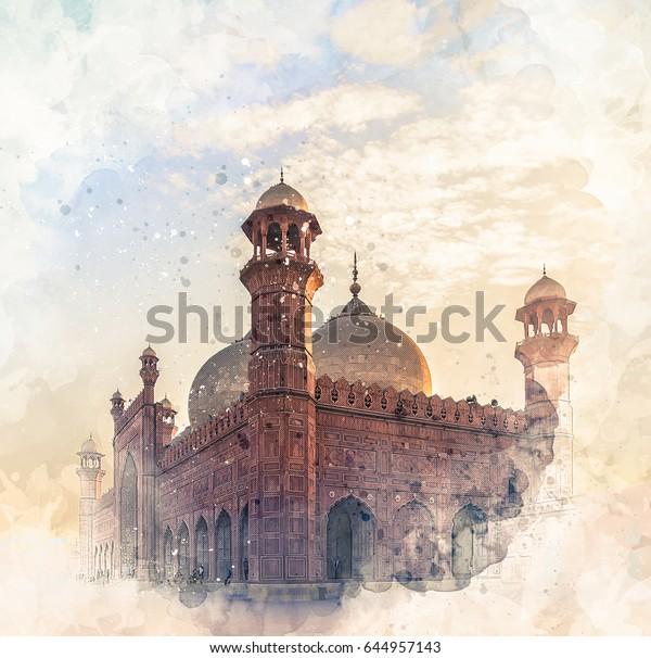 Badshahi Mosque Watercolor Sketch Stock Illustration 644957143