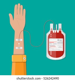 Bag with blood and hand of donor. Blood donation day concept. Human donates blood. illustration in flat style.