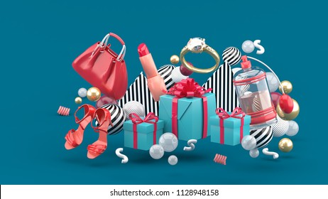 Bag, lipstick, high heels, rings, perfume and gift boxes amid colorful balls on a green background.-3d rendering.