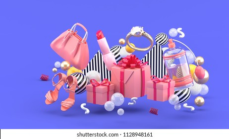 Bag, lipstick, high heels, rings, perfume and gift boxes amid colorful balls on a purple background.-3d rendering.