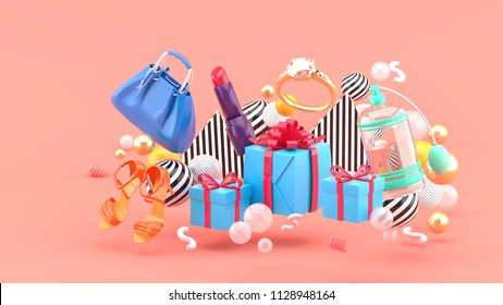 Bag, lipstick, high heels, rings, perfume and gift boxes amid colorful balls on a pink background.-3d rendering.