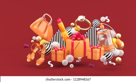 Bag, lipstick, high heels, rings, perfume and gift boxes amid colorful balls on a red background.-3d rendering.