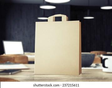 Bag in restaurant 3d rendering