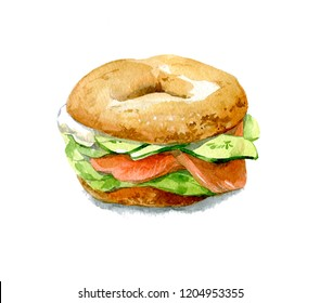 Bagel with cucumber, salmon, cream cheese. Watercolor illustration isolated on white background