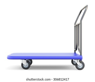 Baggage trolley side view isolated on white background. 3d illustration.