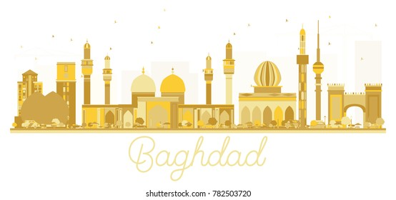 Baghdad Iraq City skyline golden silhouette. Simple flat concept for tourism presentation, banner, placard or web site. Baghdad Cityscape with landmarks.